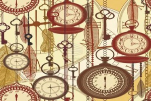 Vintage sepia seamless pattern with watches, feathers and keys