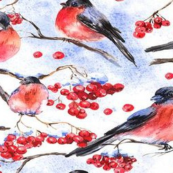 Watercolor seamless background with bullfinches